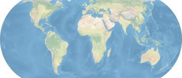 Weltkarte erstellt mit Natural Earth Daten, Eckert 4 Projektion, zentraler Meridian 10 ° Ost
